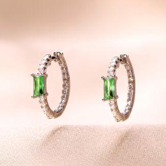 Sterling Silver Earrings Creole green light