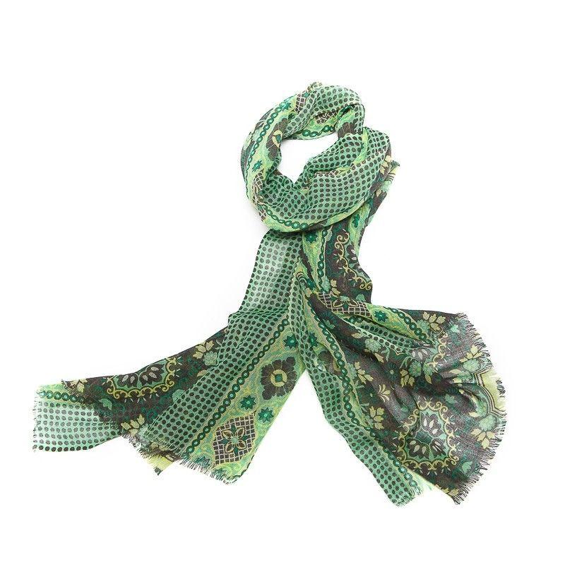 Wool scarf men Mila Schon green