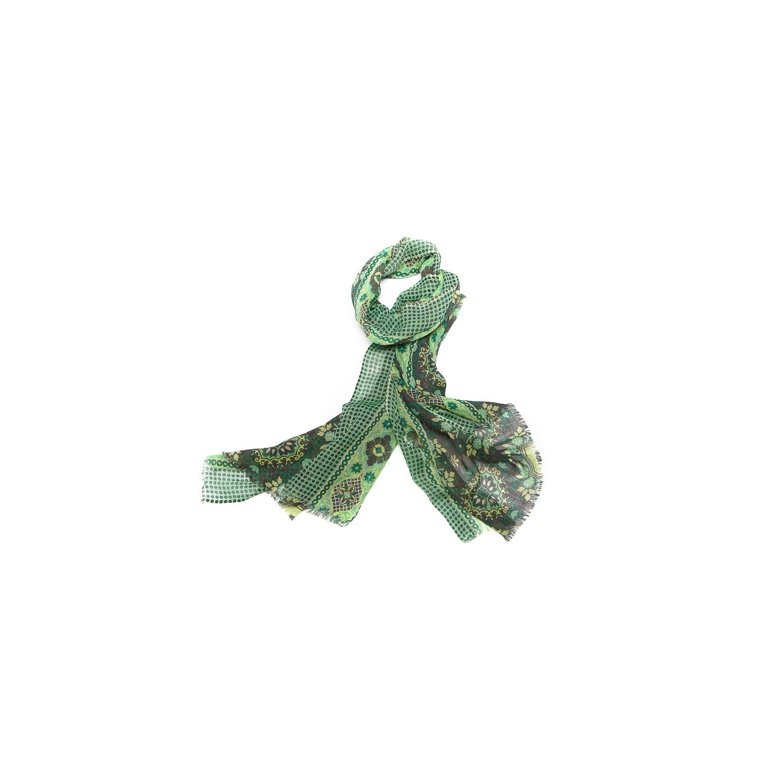 Wool scarf men Mila Schon green