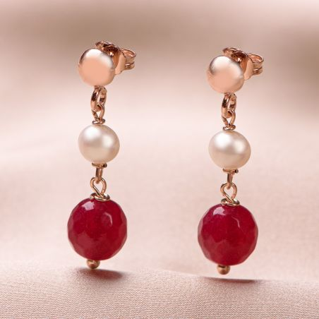 Cercei argint roz cu jad rosu si perla