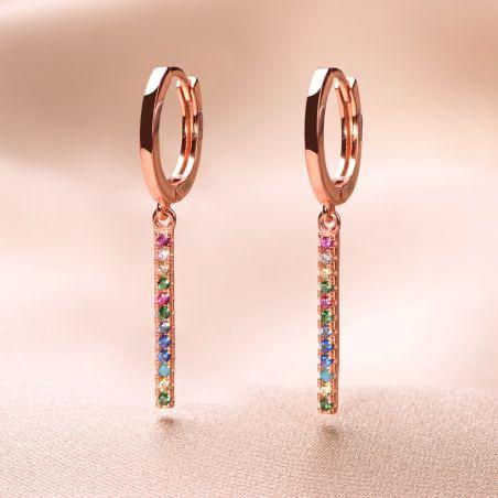 Cercei argint roz Rainbow Vibe