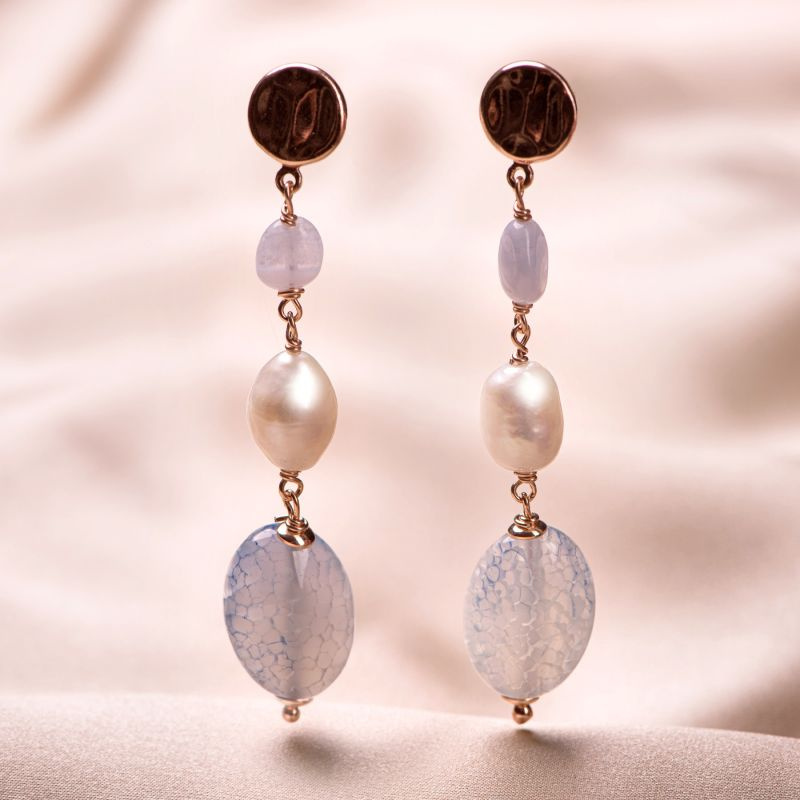 Sterling Silver Pink Earrings chalcedony and agate