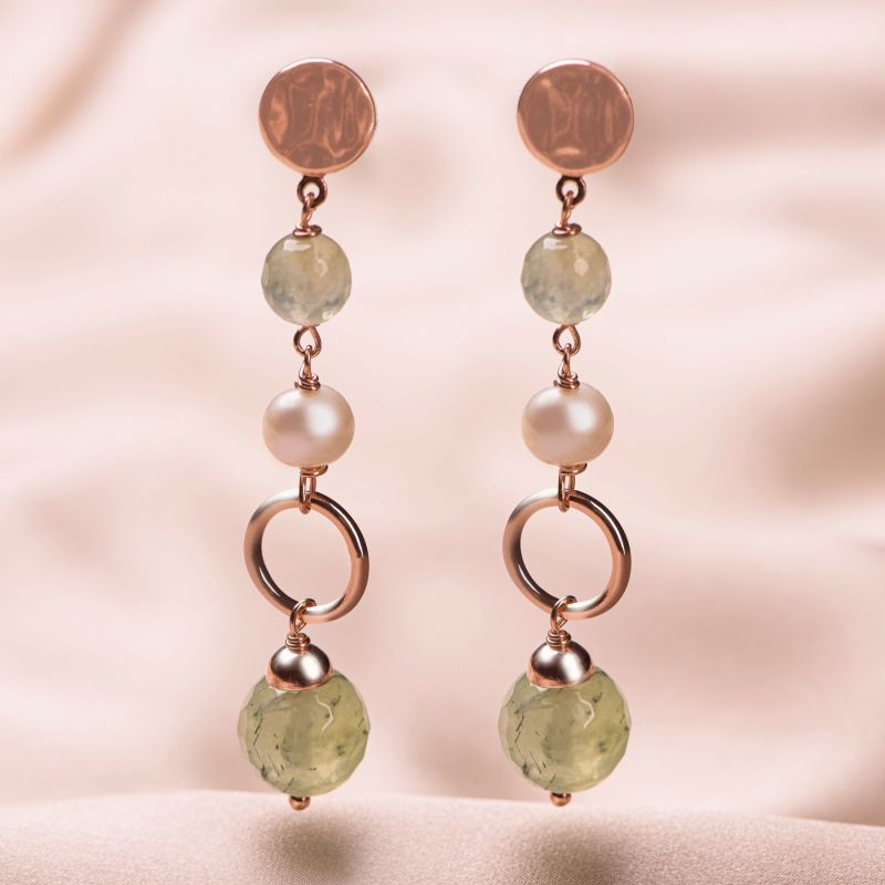 Cercei argint roz perle naturale si prehnit