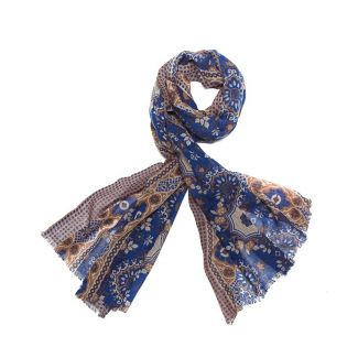 Wool scarf men Mila Schon blue