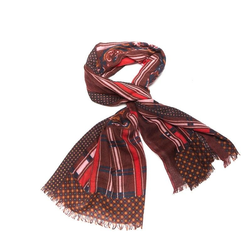 Wool scarf men Mila Shon bordo stripes