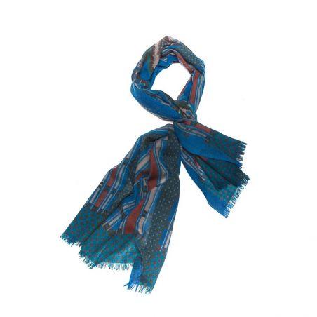 Wool scarf men Mila Shon blue stripes