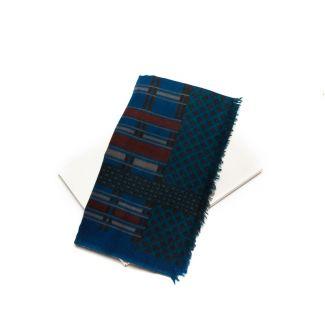 Wool scarf men Mila Schon blue stripes