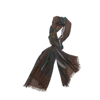 Wool scarf men M. Shon brown stripes