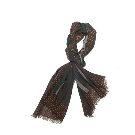 Wool scarf men Mila Schon brown stripes