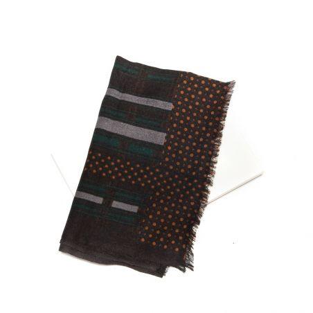Wool scarf men Mila Schon brown stripes