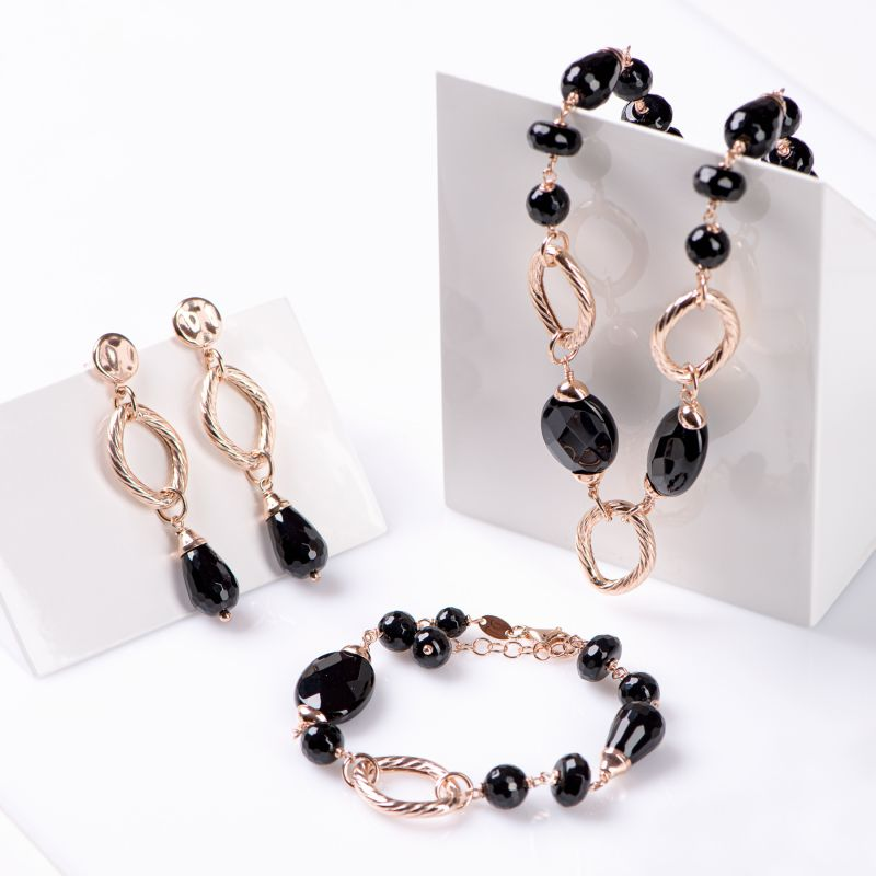 Gift Sterling 925 Silver pink Earrings, Necklace and Bracelet Notte a Venezia