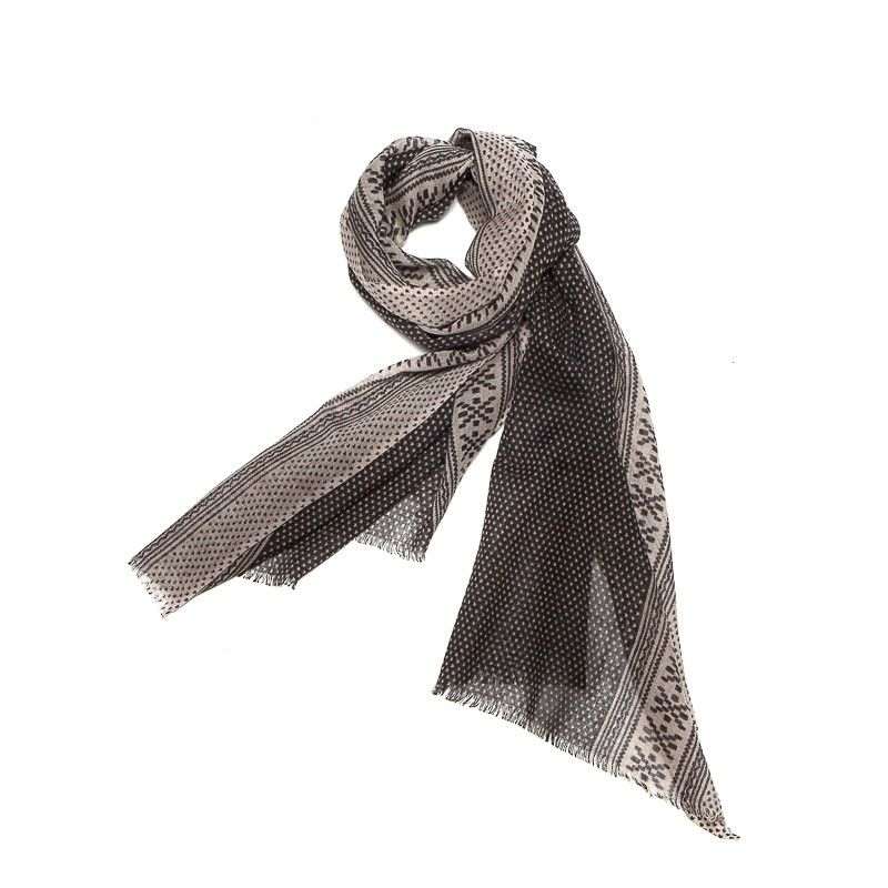 Wool scarf men Mila Shon gray