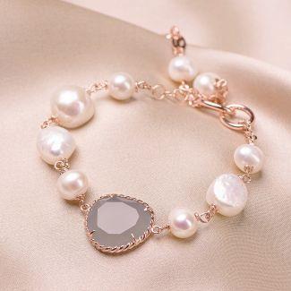 Bratara argint roz New Pearl Design