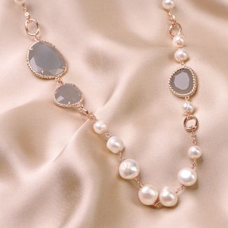 Colier argint roz New Pearl Design