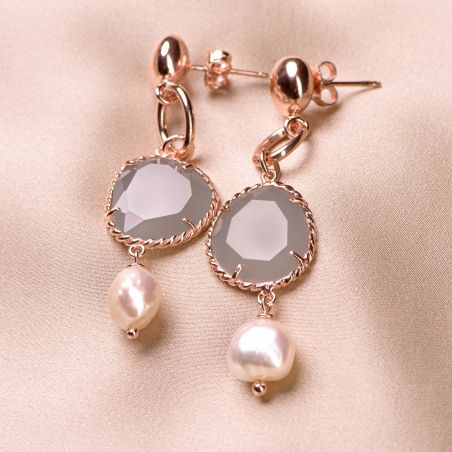 Cercei argint roz New Pearl Design