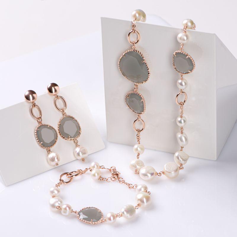 Set cercei, bratara si colier argint roz New Pearl Design