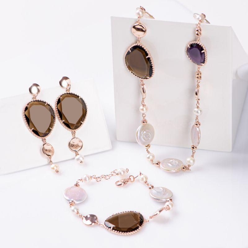 Gift Sterling 925 Silver pink Earrings, Necklace and Bracelet Change the rule Sienna