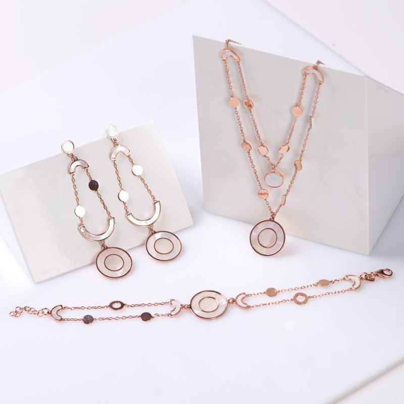 Gift Sterling 925 Silver Earrings, Necklace and Bracelet Bella Donna white