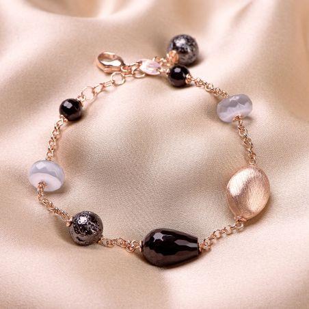 Bratara argint roz Grey Cat Eye, agate negre, pietre de lava