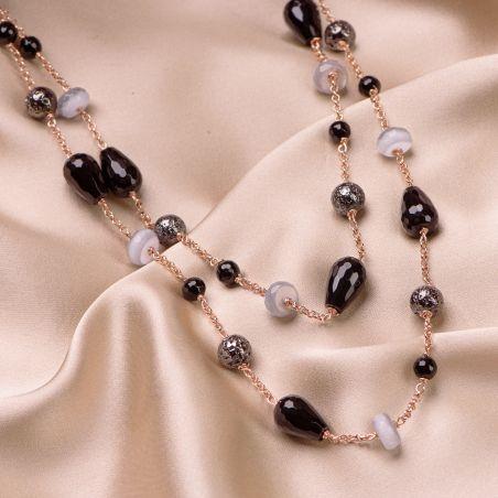 Colier argint roz Grey Cat Eye, agate negre, pietre de lava