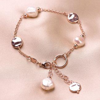 Bratara argint roz Always, the pearls