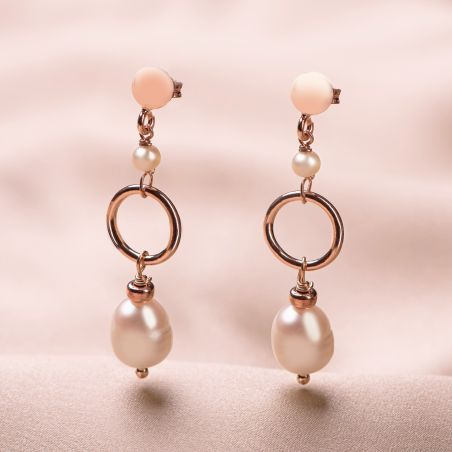 Cercei argint roz Always, the Pearls