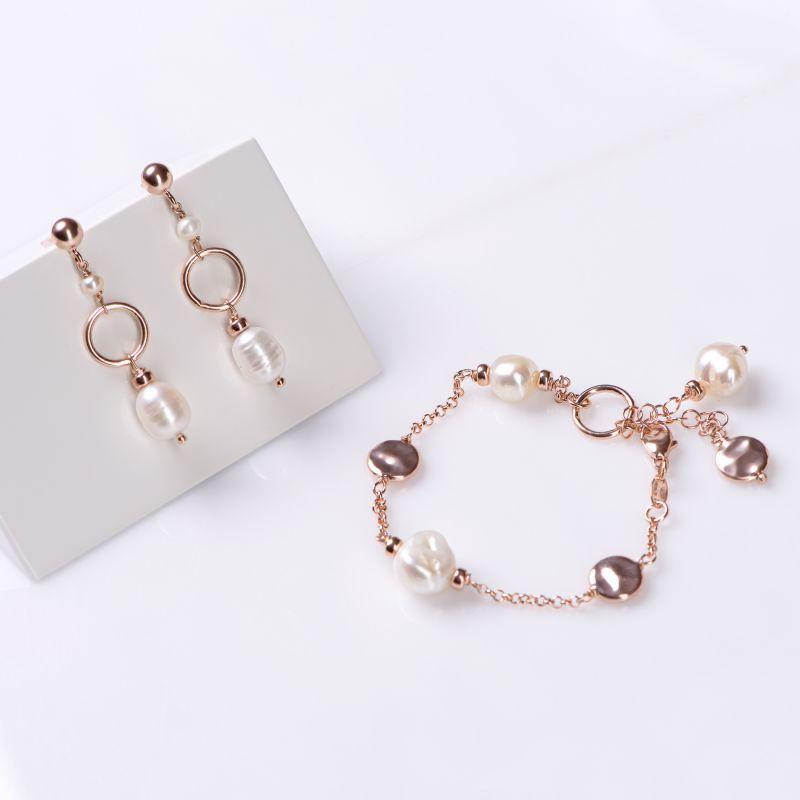 Set cercei si bratara argint roz Always, the Pearls