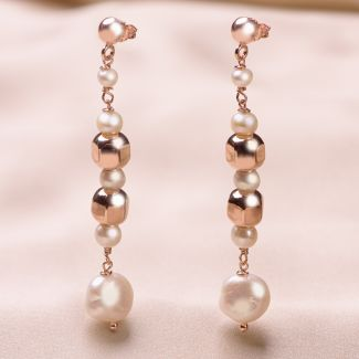 Cercei argint roz Pearls Code