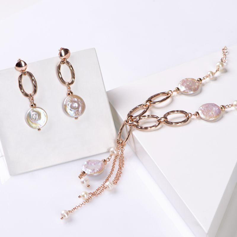 Set crecei si colier argint roz Cool Pearls Mood