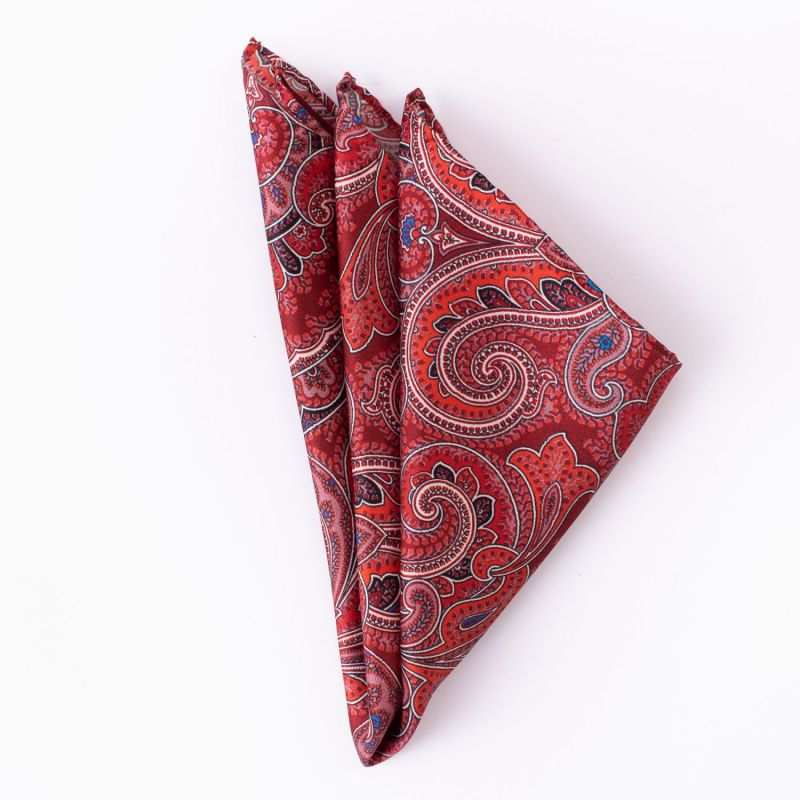 London Paisley 11 cherry Silk Pocket