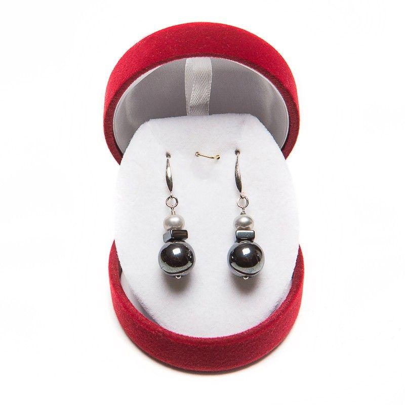 Cercei argint hematit si perle gri