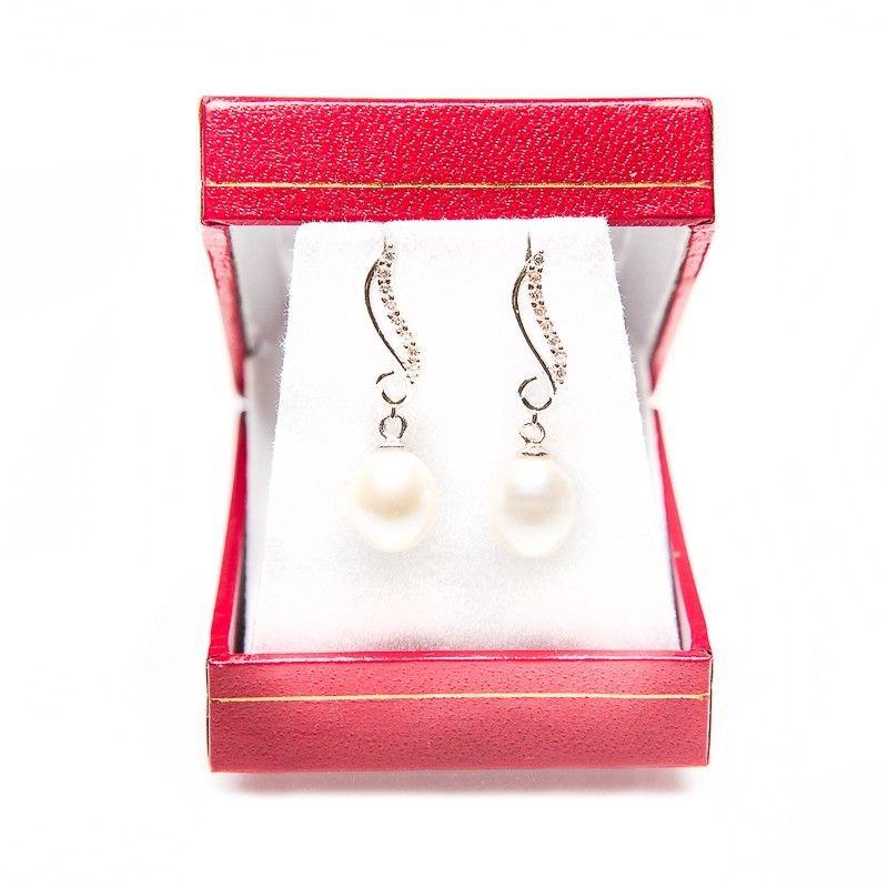 Cercei argint perle alb