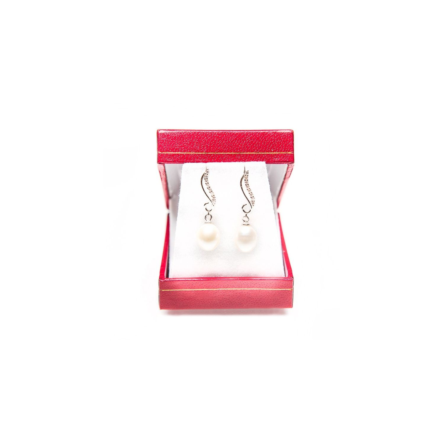 White pearl silver earrings