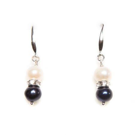 Cercei argint perle alb si negru
