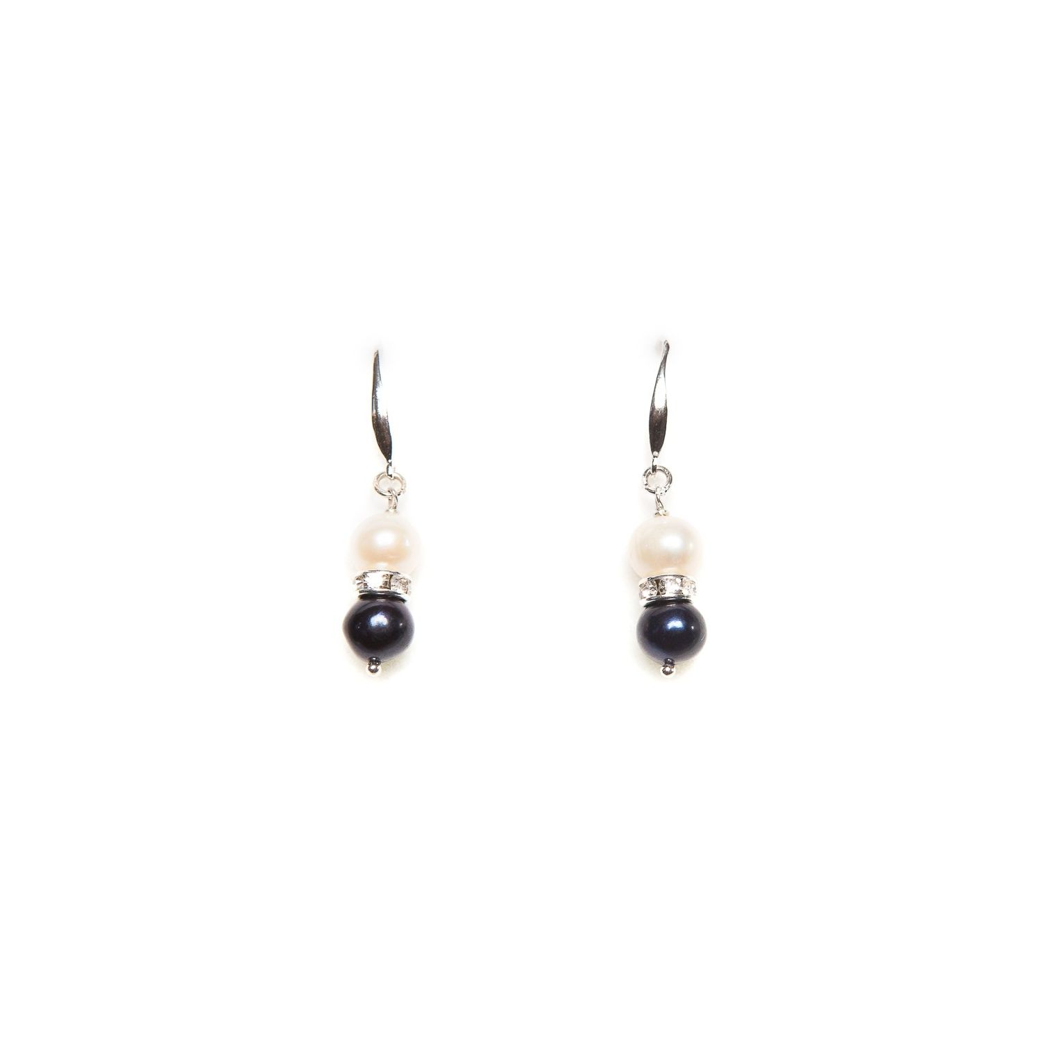 Black and white pearl silver earrings