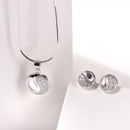 Set argint cercei lant ai pandant Yin & Yang