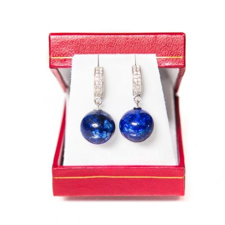 Silver earrings lapis