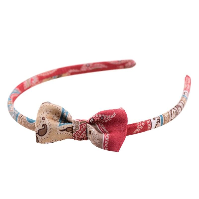Headband cu fundita MC paisley marsala