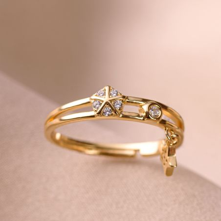 Inel argint reglabil Cool Vibe Star gold
