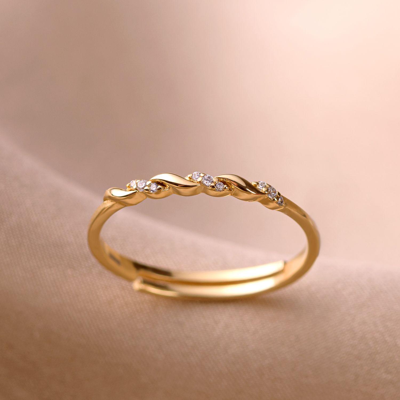 Inel argint reglabil Minimal Twist gold