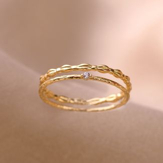 Inel argint nereglabil Minimal 2 Rings gold