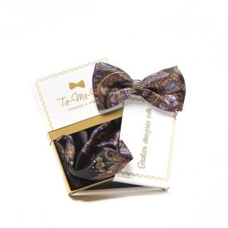 GIFT : Set handkerchief silk bow tie with black and purple paisley