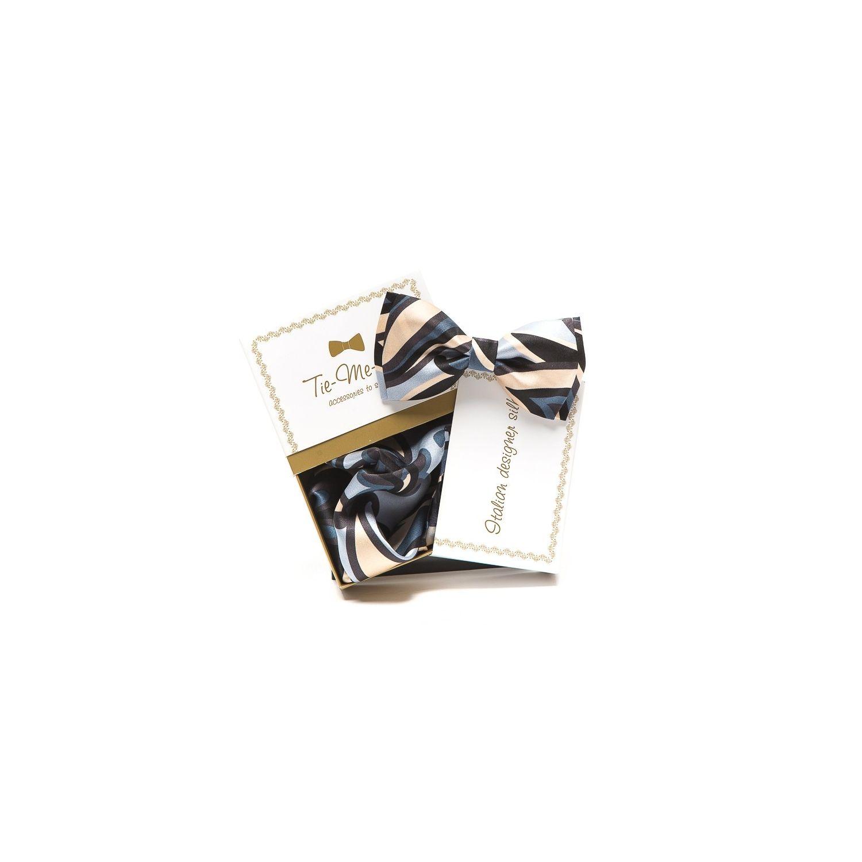 GIFT: Set handkerchief silk bow tie with gray Greffe Ungaro