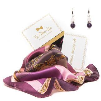 CADOU: Esarfa Marina D'Este polo purple si cercei din argint cu ametist si cuart roz