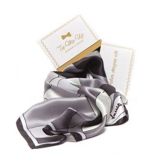 CADOU: Esarfa Laura Biagiotti black abstract si cercei din argint hematit si perle gri