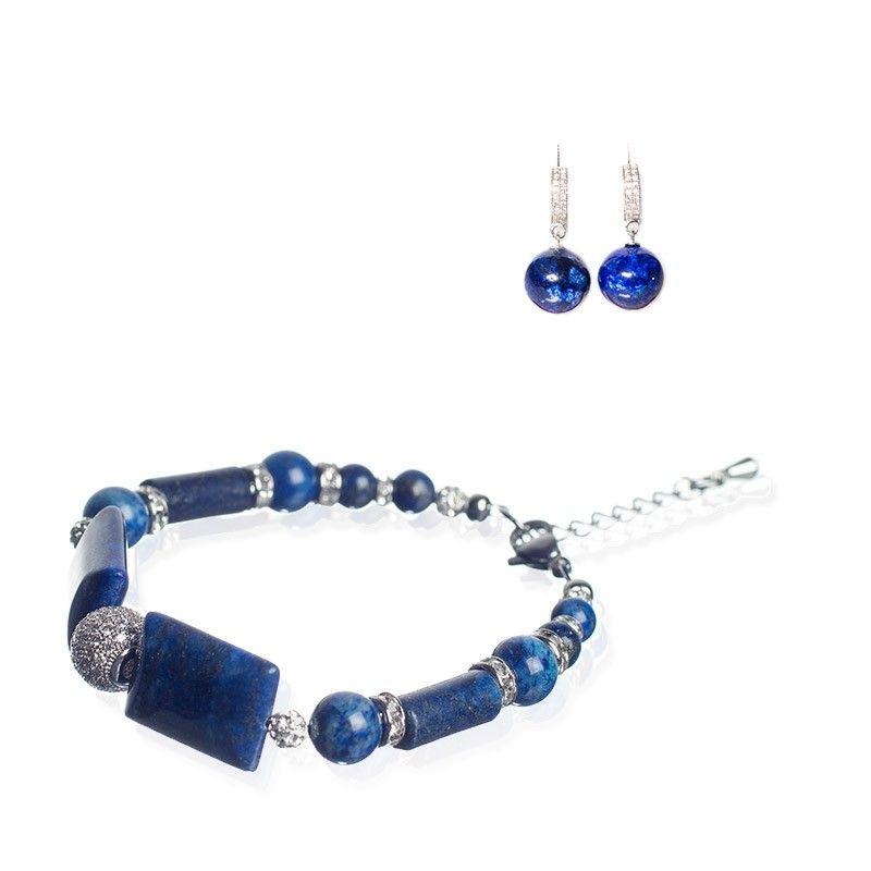 CADOU: Cercei argint si bratara Lapis Lazuli