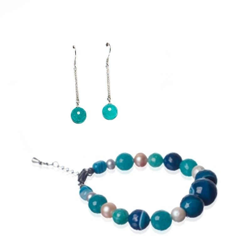 GIFT: agate bracelet silver and turquoise earrings