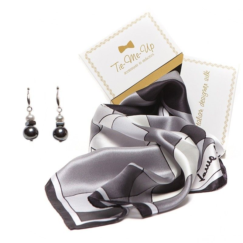 GIFT: Laura Biagiotti scarf abstract black and silver earrings and pearl gray hematite
