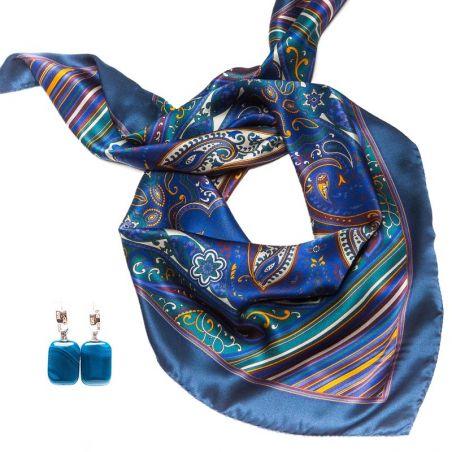 CADOU: Esarfa Marina D'Este paisley arabesc si cercei din argint cu agat dantela albastru