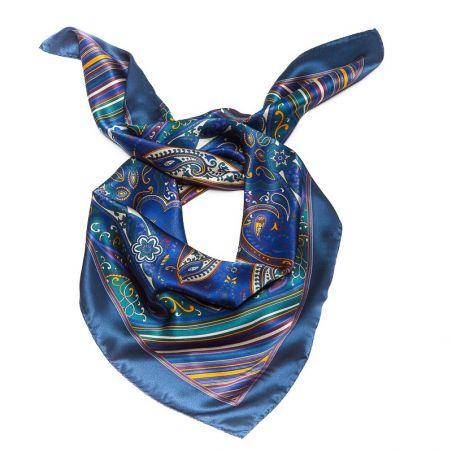 CADOU: Esarfa Marina D'Este paisley blu si cercei din argint cu agat dantela albastru